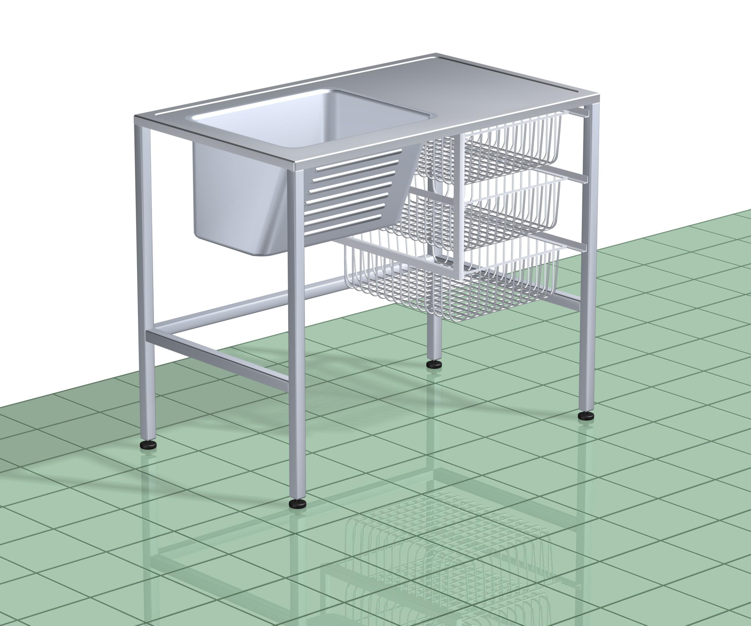 Pesuallaspöytä TPAP 1000 RST (O tai V) L