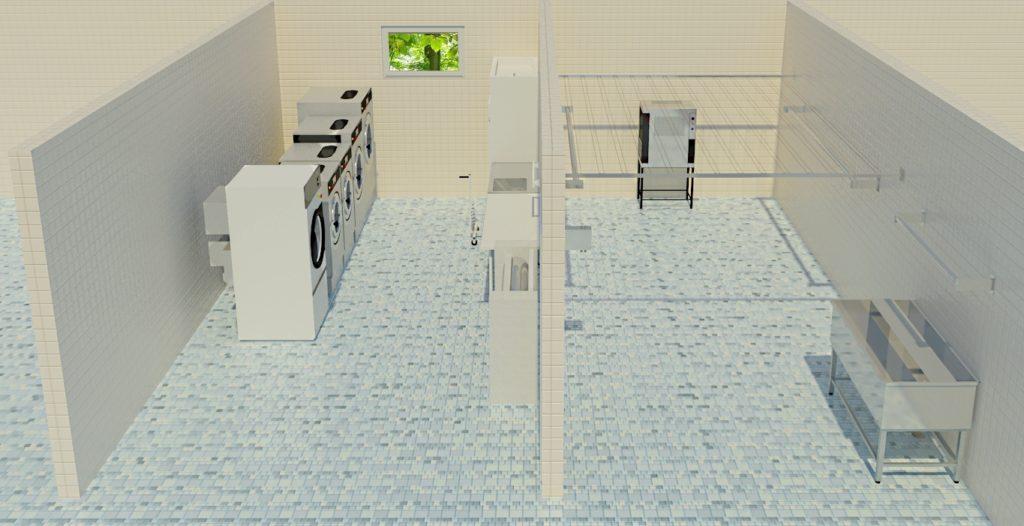 Kortteli- ja mattopesula ja kuivaushuone